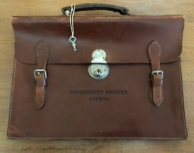 VINTAGE GOVERNMENT PRINTER CYPRUS LEATHER BAG by ANGLEX DE LUX ENGLAND