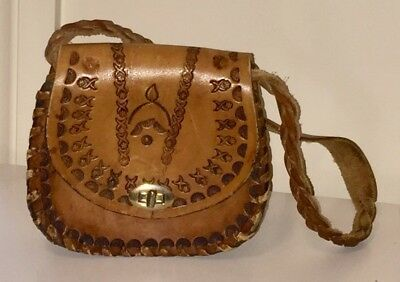 Mini Vintage Tooled Leather Handbag