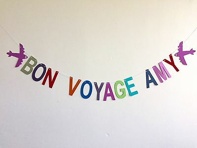 personalised 'bon voyage' party banner leaving do bunting decoration