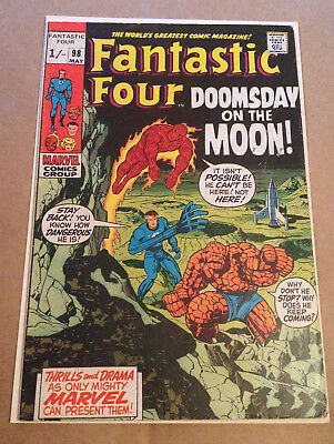 Fantastic Four # 98 - Jack Kirby Art / Neil Armstrong Moon Issue - Marvel 1970