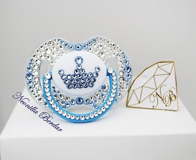 Avent 0-6 month Blue Crown dummy with Swarovski Crystals. Bling soother.Pacifier
