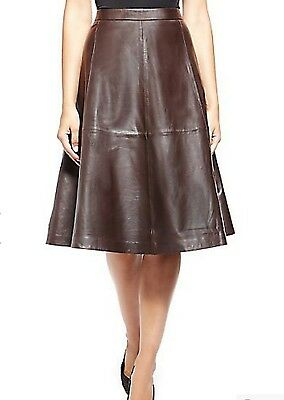 M&S COLLECTION Genuine Leather Panelled A-Line Skirt Chocolate size 16 bnwt!