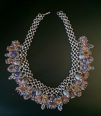 Outstanding and superb Berber, Amazigh, necklace - Silver, Enamel and Coral