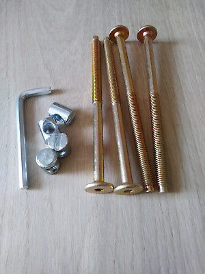 KIT Of 4 Screw /& 4 Nut For Beds,Cots/&Furniture.M6 x Assorted Length+Allen Key.ZP