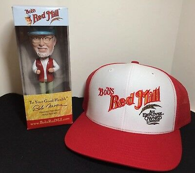 NIP Bobble Head & Hat Bob Moore Owner / Founder of Bob's Red Mill Milling Co.