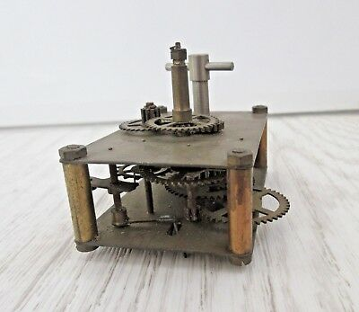 Vintage brass winding Clock movement  for parts or steampunk only cogs wheels