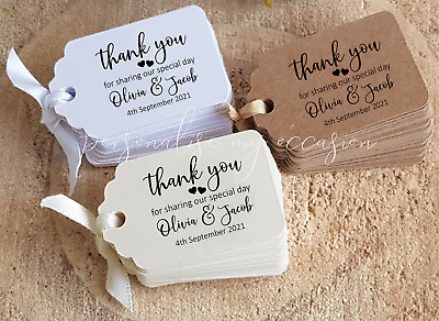Wedding Favour Tags, Personalised, Small Thank you for sharing special day SLTY8