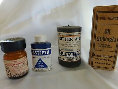 Lot Of 4 Antique Apothecary Drugs From Closed Drug Store Contents Are Included