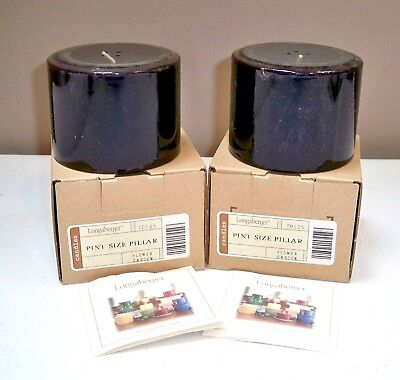 2 Longaberger Pint Size Pillar Candles - Flower Garden - New In Boxes