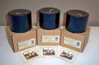 3 Longaberger Pint Size Pillar Candles - American Breeze - New In Boxes