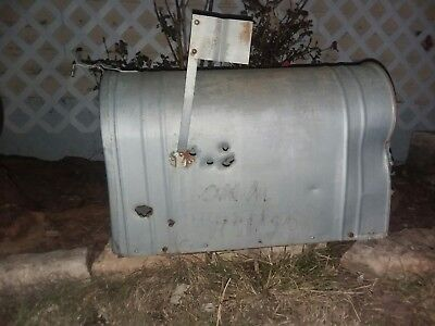 LARGE VINTAGE RUSTIC GALVANIZED STEEL OLD FARM MAILBOX FARM with gunshot wounds