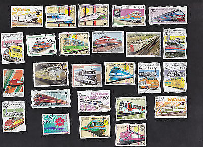 25 All Different Bullet Trains On Stamps (Railroad)