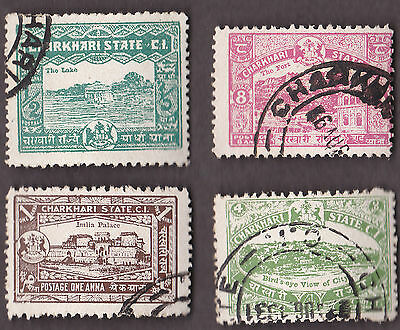 4  All Different CHARKHARI Stamps  (INDIAN STATE)