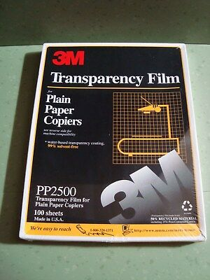 """3M Transparency Film PP2500 100 Sheets Brand New Sealed for copiers 8.5"""" x 11"""""""