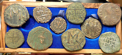 Lot of 10 VF Ancient Byzantine Coins!  Largest 33 mm.  Nice Lot!