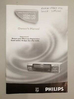 Philips~VHS VCR Owner's Manual~VRB411 VRB611~Video Cassette Recorder~Book
