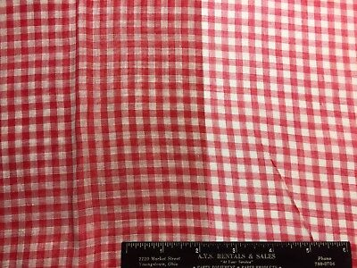 Vintage Cotton Organdy Lawn Red & White Gingham Fabric  38w 1yd