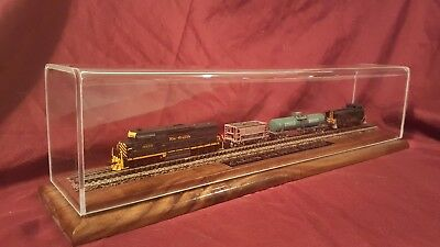 DISPLAY CASE  for  scale SHIP MODELS  trains acrylic , walnut base