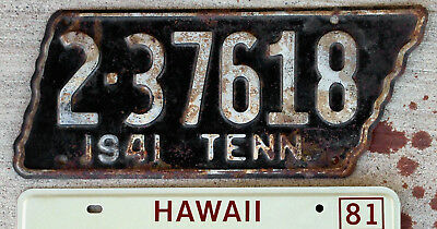 1941 White on Black Tennesse License Plate Issued in the Tennessee State Shape