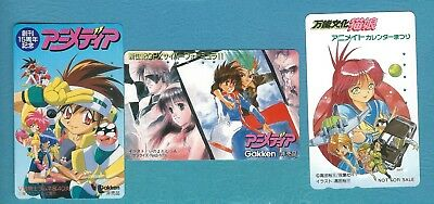 Used Japan phonecards - 3 different animation