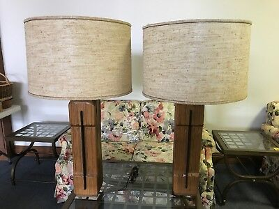 Vintage Pair Of Table Lamp By A. Brandt Ranch Oak Co.