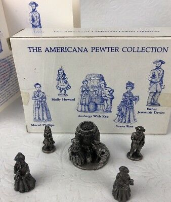 Liberty Falls Americana Collection 5 Pewter Figures Ausbergs With Keg AH71 1995