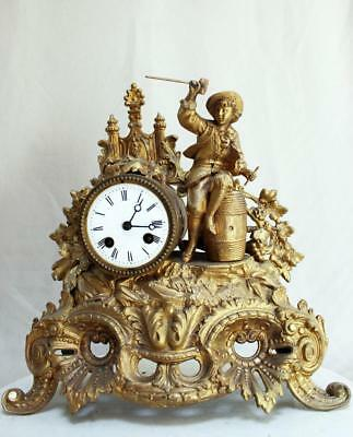 ANTIQUE 1860 FRENCH  CLOCK  Gilt  Ormolu ROMANTIC BARREL MAKER
