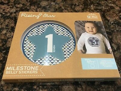 New Rising Star Milestone Photo Prop Belly Stickers Set, Baby Boys, Age 0-12M