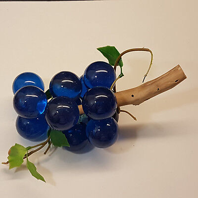 Vintage Mid Century Modern Lucite Acrylic 1960s Blue Grapes Cluster on Driftwood