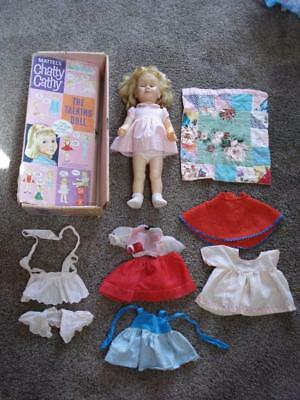 Vtg Chatty Cathy Talking Doll In Box With Clothes Mattel Original Box Says 1959