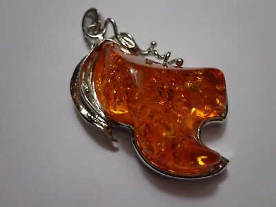 Faux Amber Crushed Amber Pendant Large