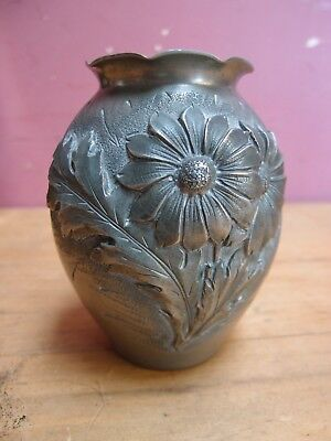 VINTAGE1930s ART NOUVEAU DESIGN HAMMERED PEWTER VASE SIGNED N. COLLET