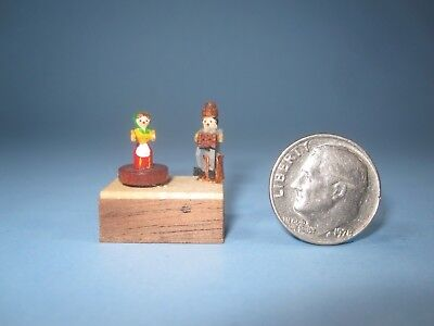 Dollhouse Miniature Vintage Old Fashion Wood Mechanical Toy Box signed 1/2 scale