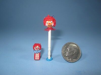 """Dollhouse Miniature Vintage Raggedy Ann Toy Stick and """"Jack in the Box"""" lot of 2"""