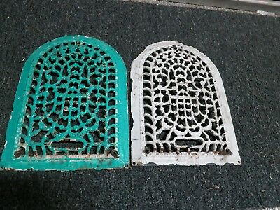 Cast Iron Arch Victorian grate/vent wall lot (2) matching pairraised covers