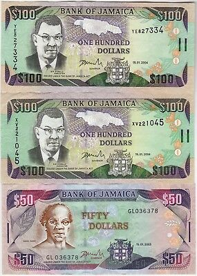 2003-2004 Jamaica Currency, Paper Money Set Of 3 Bank Notes