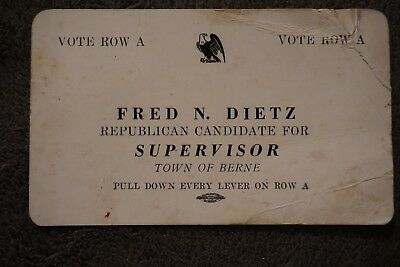 1947 GOP Republican Card Fred N Dietz for Supervisor Berne, NY