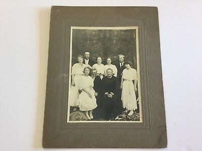 Cabinet Card Photo Antique Large Card of Family Group Women Men Historical