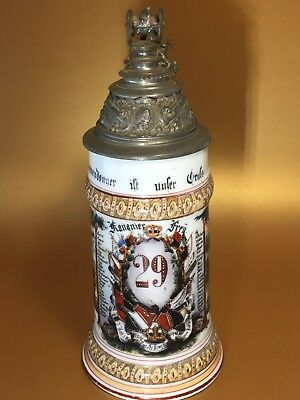 German Porcelain Military Regimental Lithophane Stein, Excellent
