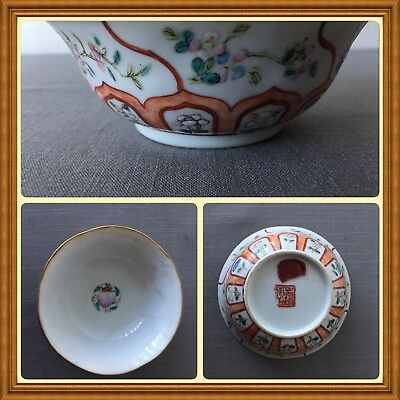 Antique Chinese Export China Porcelain Famille Rose Rice Bowl Customs Wax Seal