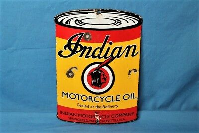 Vintage 1930s INDIAN MOTORCYCLE OIL CAN Old Service Station Advertising Sign