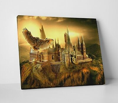 Harry Potter Hogwarts School Movie Poster Gold Canvas Wall Art Picture Print