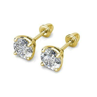 0.5Ct Created Diamond 14K Yellow Gold 4mm Round Screw Back Stud Earrings