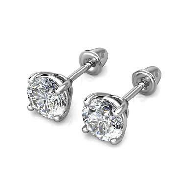0.5Ct Created Diamond 14K White Gold 4mm Round Screw Back Stud Earrings