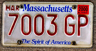 """Massachusetts """"Spirit of America"""" License Plate with a 2000 Sticker"""