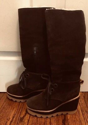eabe65ec0fe0 SEE BY CHLOE Brown Suede Shearling Lace Up side Zipper High Wedge Boots  Sz36.