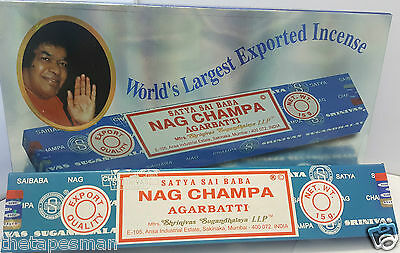 6x15g (60 Sticks)  SATYA SAI BABA - NAG CHAMPA INCENSE STICKS Fragrance Indian
