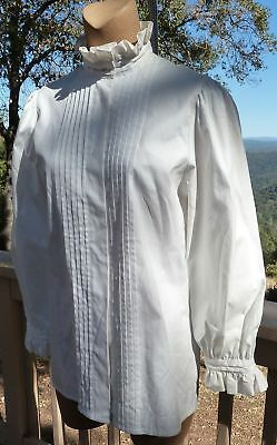 Vintage Laura Ashley Blouse White High Neck Victorian Pintucks U.S. 8