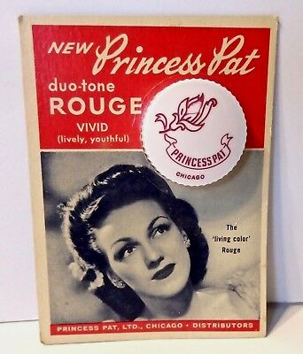 VINTAGE MAKEUP 1940s PRINCESS PAT ROUGE COMPACT ON CARD ~ NEAT GRAPHICS NOS HTF