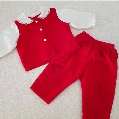 Vintage Baby Girl Dress Outfit Red Velveteen Childrens Clothes12m Christmas